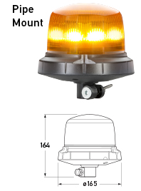 RotaLED Compact Flashing Beacon - Pipe Mount