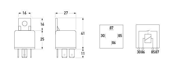 24v 4 Pin Normally Open Mini Relay 30a