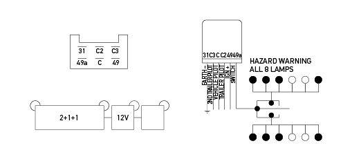 electronic flasher unit 12v 6 pin 2 1 1 rh hella co nz 3 Terminal Flasher Wiring-Diagram Emergency Flasher Wiring-Diagram